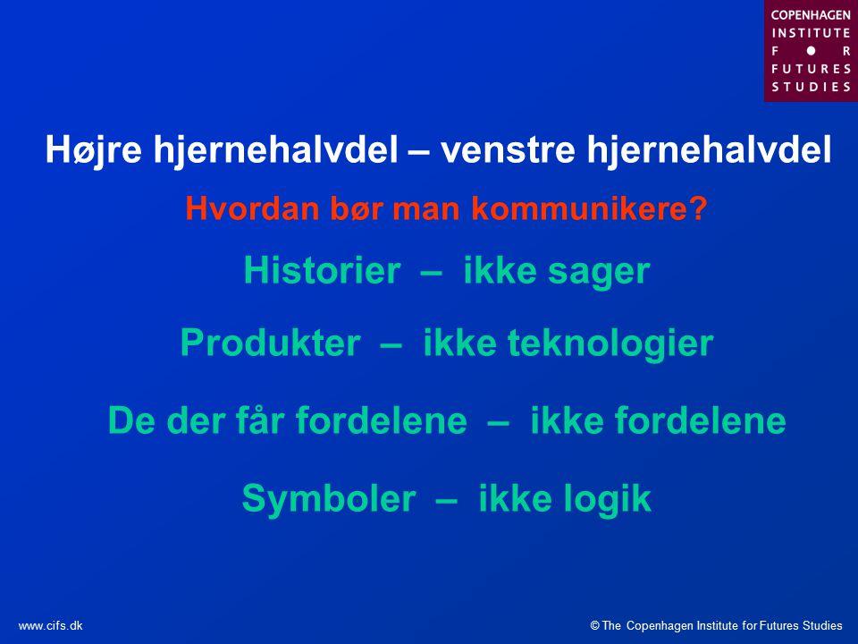 © The Copenhagen Institute for Futures Studieswww.cifs.dk Højre hjernehalvdel – venstre hjernehalvdel Hvordan bør man kommunikere.