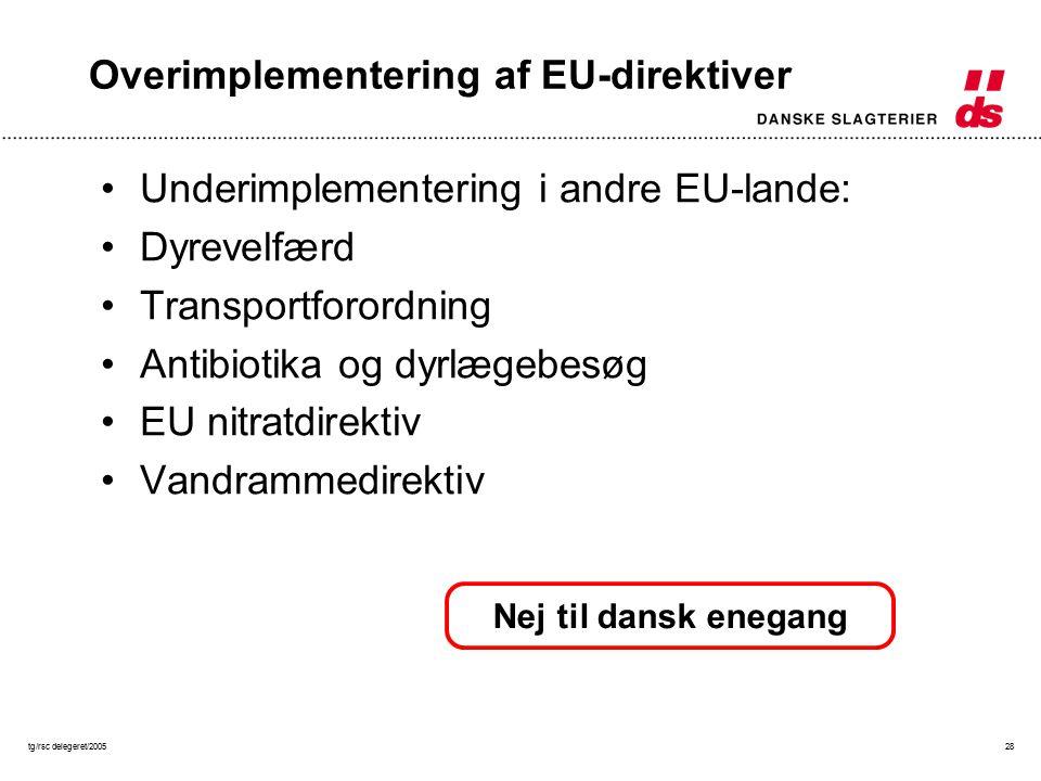 tg/rsc delegeret/200528 Overimplementering af EU-direktiver Underimplementering i andre EU-lande: Dyrevelfærd Transportforordning Antibiotika og dyrlægebesøg EU nitratdirektiv Vandrammedirektiv Nej til dansk enegang