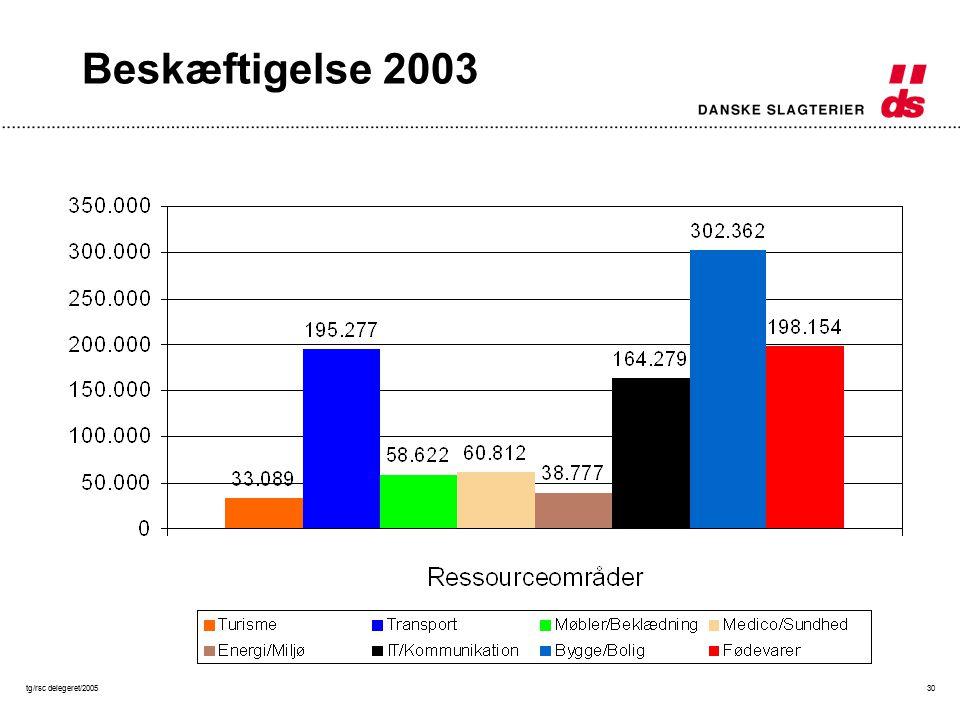 tg/rsc delegeret/200530 Beskæftigelse 2003