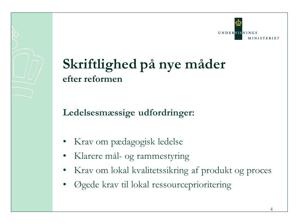 3 Skriftlighed på nye måder efter reformen Teknologiske udfordringer: It-anvendelse udfordrer traditionelt skel ml.