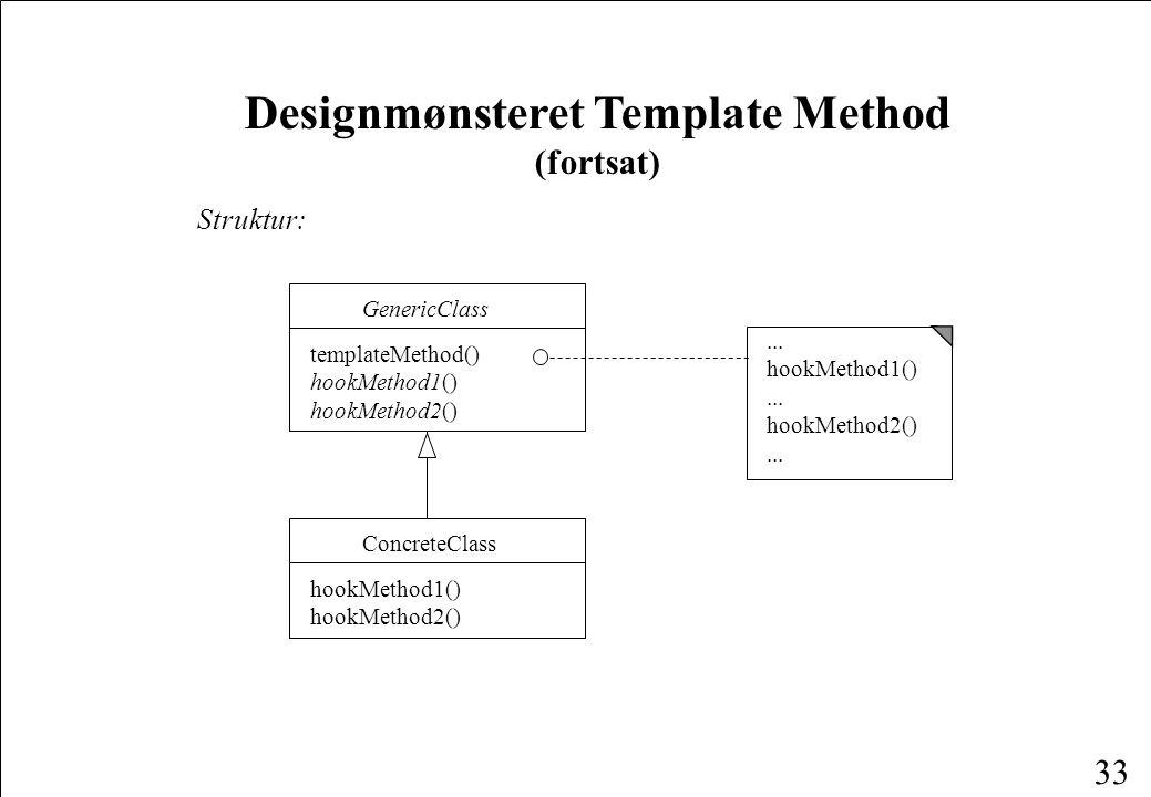 33 Designmønsteret Template Method (fortsat) Struktur:...