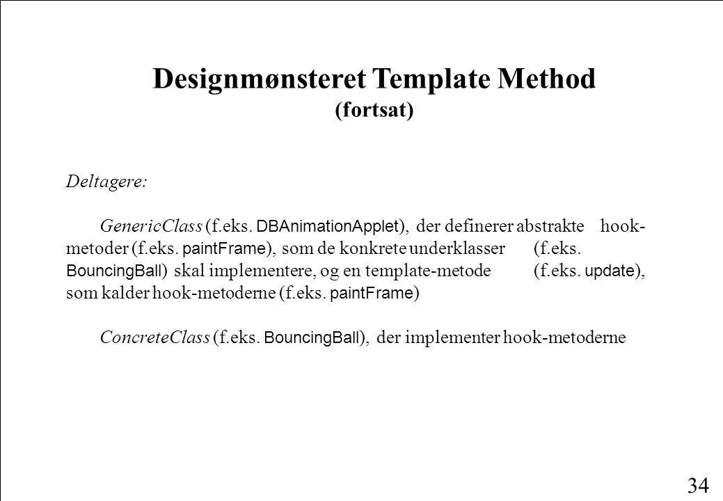 34 Designmønsteret Template Method (fortsat) Deltagere: GenericClass (f.eks.