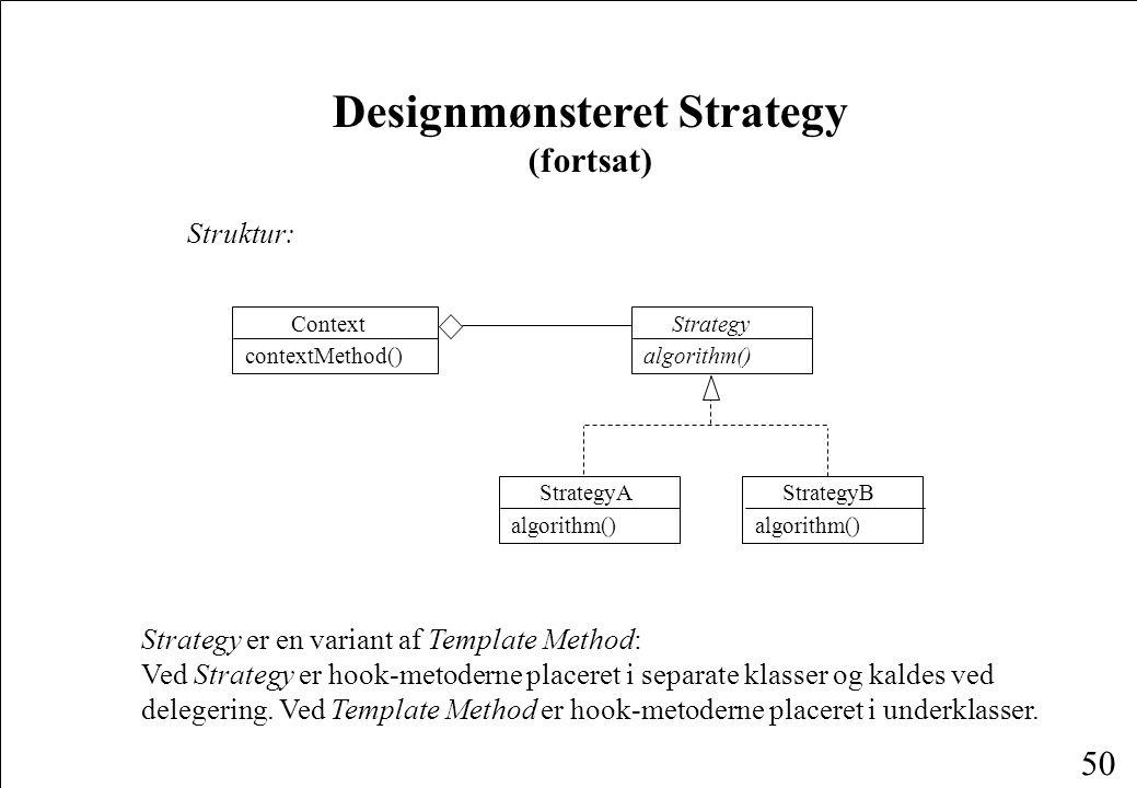 50 Designmønsteret Strategy (fortsat) Struktur: StrategyA algorithm() StrategyB algorithm() Strategy algorithm() Context contextMethod() Strategy er en variant af Template Method: Ved Strategy er hook-metoderne placeret i separate klasser og kaldes ved delegering.