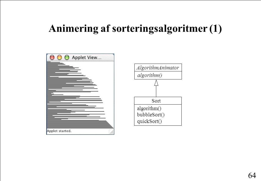 64 Animering af sorteringsalgoritmer (1) Sort algorithm() bubbleSort() quickSort() AlgorithmAnimator algorithm()