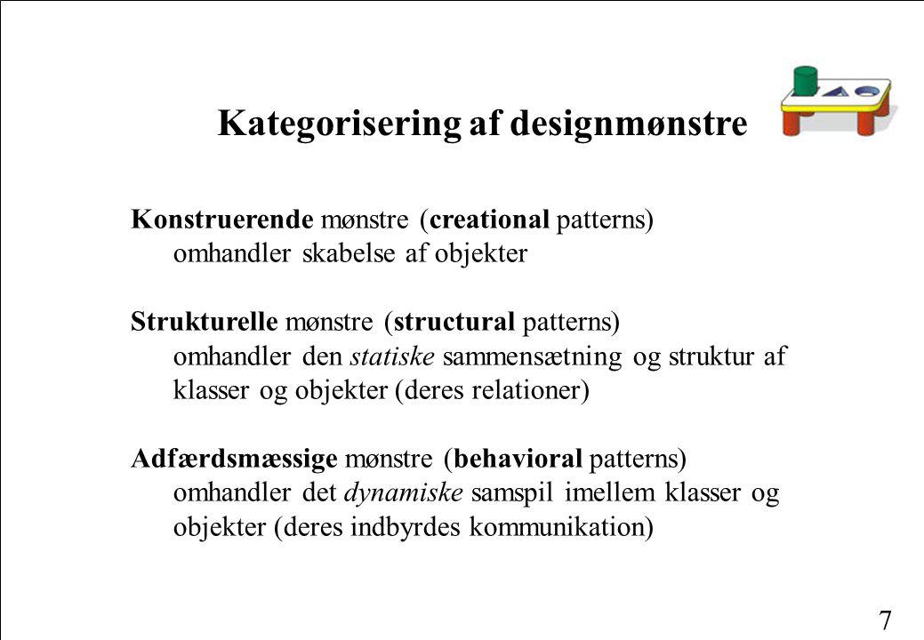 7 Konstruerende mønstre (creational patterns) omhandler skabelse af objekter Strukturelle mønstre (structural patterns) omhandler den statiske sammensætning og struktur af klasser og objekter (deres relationer) Adfærdsmæssige mønstre (behavioral patterns) omhandler det dynamiske samspil imellem klasser og objekter (deres indbyrdes kommunikation) Kategorisering af designmønstre