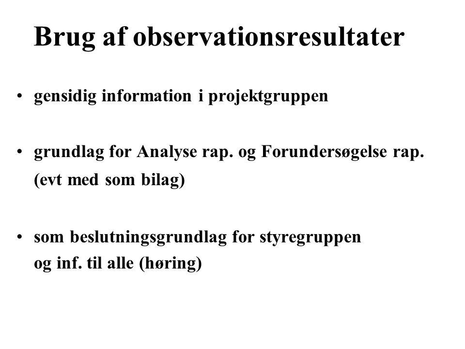 Brug af observationsresultater gensidig information i projektgruppen grundlag for Analyse rap.