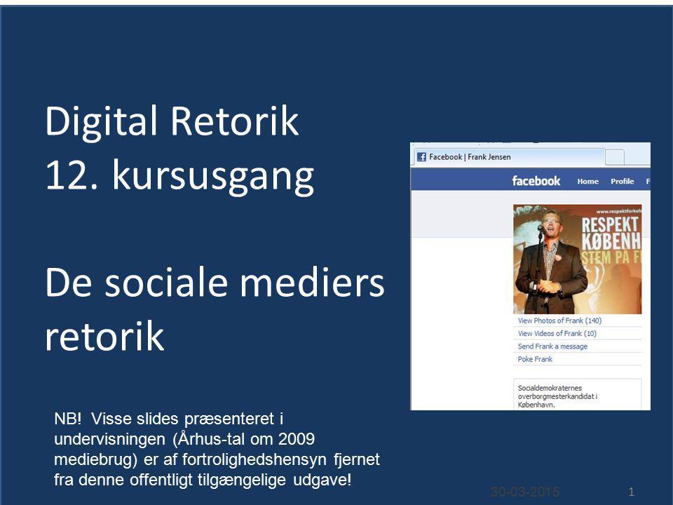 Digital Retorik 12. kursusgang De sociale mediers retorik 30-03-2015 1 NB.