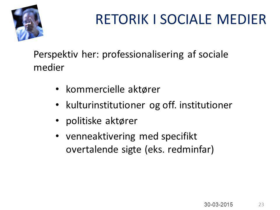 RETORIK I SOCIALE MEDIER kommercielle aktører kulturinstitutioner og off.