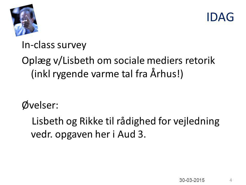 IDAG In-class survey Oplæg v/Lisbeth om sociale mediers retorik (inkl rygende varme tal fra Århus!) Øvelser: Lisbeth og Rikke til rådighed for vejledning vedr.