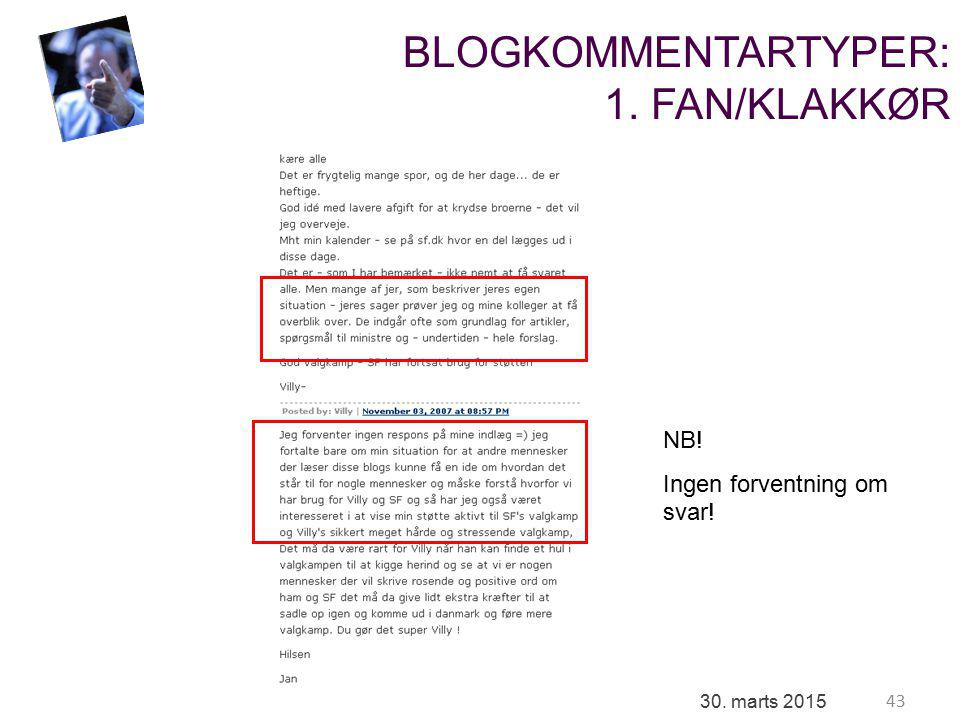 43 30. marts 2015 BLOGKOMMENTARTYPER: 1. FAN/KLAKKØR NB! Ingen forventning om svar!