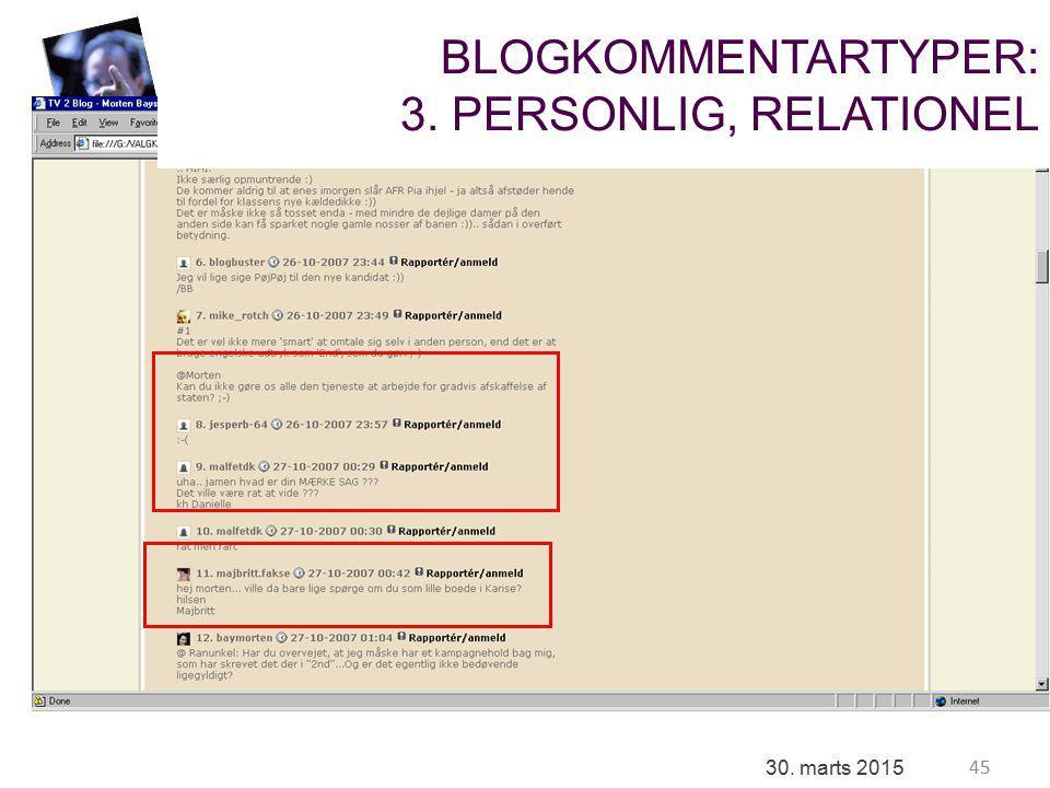 45 30. marts 2015 BLOGKOMMENTARTYPER: 3. PERSONLIG, RELATIONEL