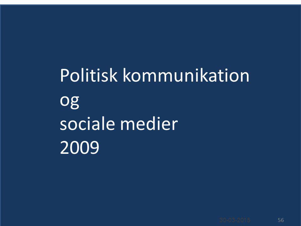 Politisk kommunikation og sociale medier 2009 30-03-2015 56