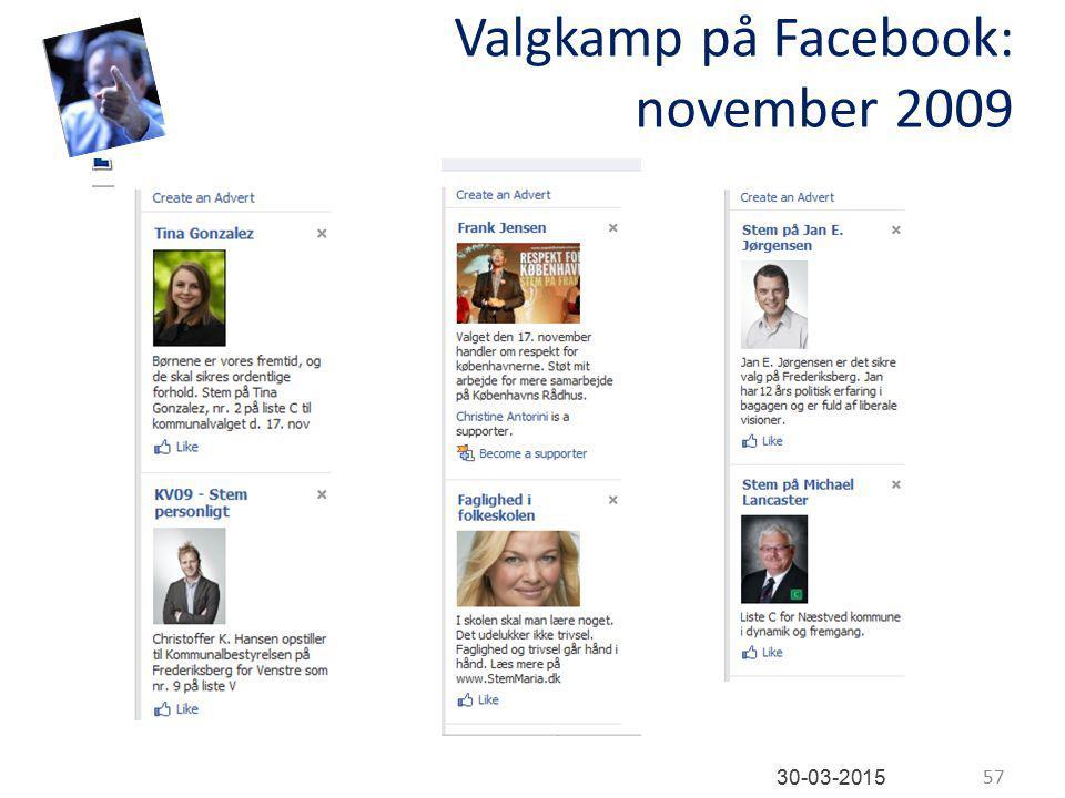 Valgkamp på Facebook: november 2009 57 30-03-2015