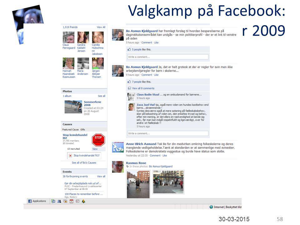 Valgkamp på Facebook: november 2009 58 30-03-2015