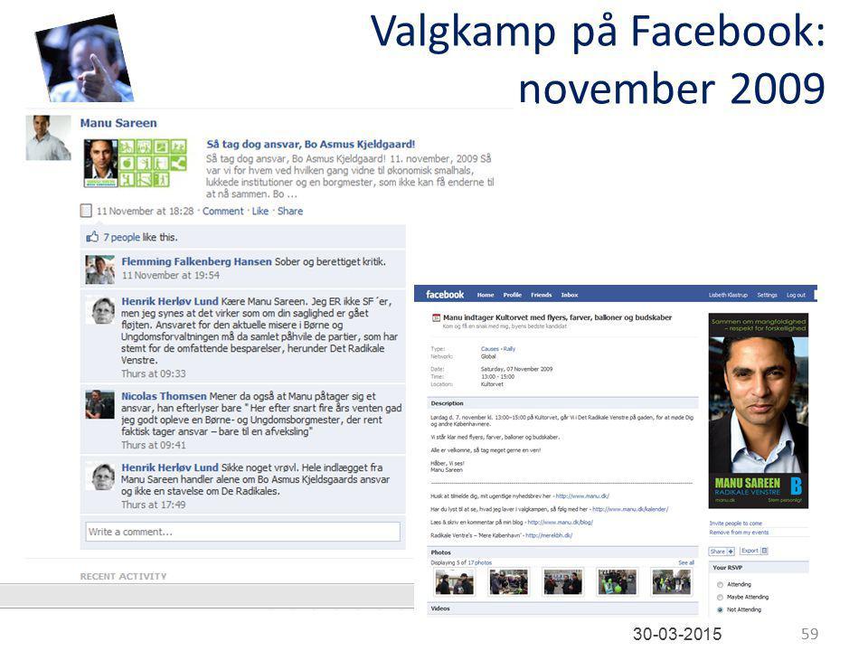 Valgkamp på Facebook: november 2009 59 30-03-2015
