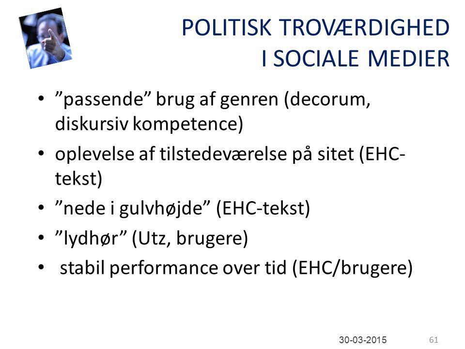 POLITISK TROVÆRDIGHED I SOCIALE MEDIER passende brug af genren (decorum, diskursiv kompetence) oplevelse af tilstedeværelse på sitet (EHC- tekst) nede i gulvhøjde (EHC-tekst) lydhør (Utz, brugere) stabil performance over tid (EHC/brugere) 61 30-03-2015