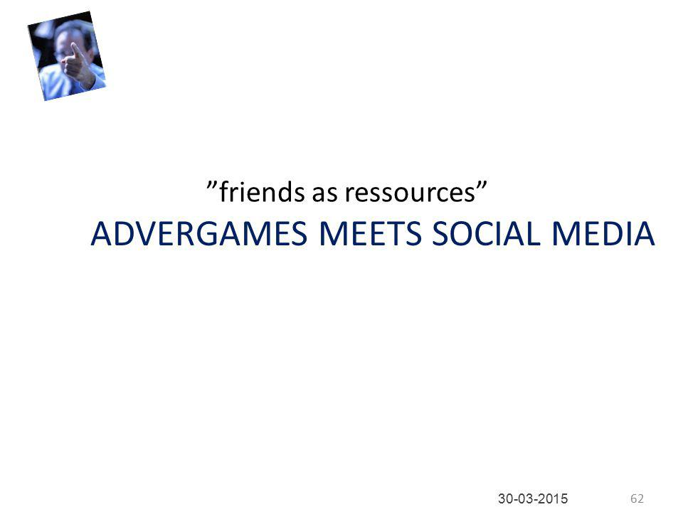 ADVERGAMES MEETS SOCIAL MEDIA friends as ressources 62 30-03-2015