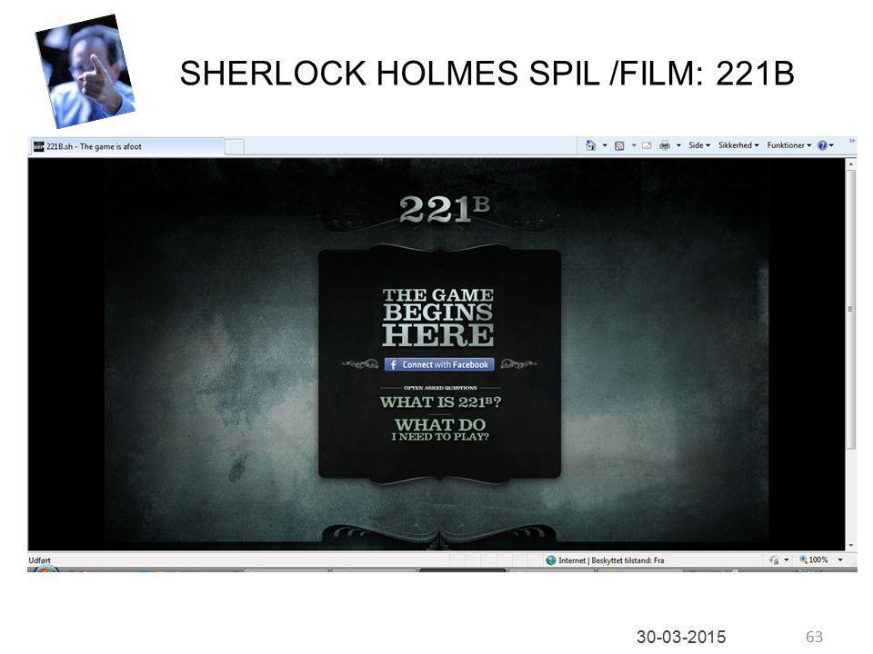 63 30-03-2015 SHERLOCK HOLMES SPIL /FILM: 221B