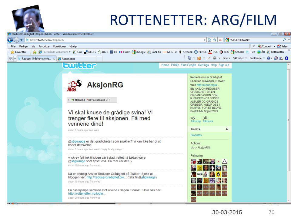 ROTTENETTER: ARG/FILM 70 30-03-2015