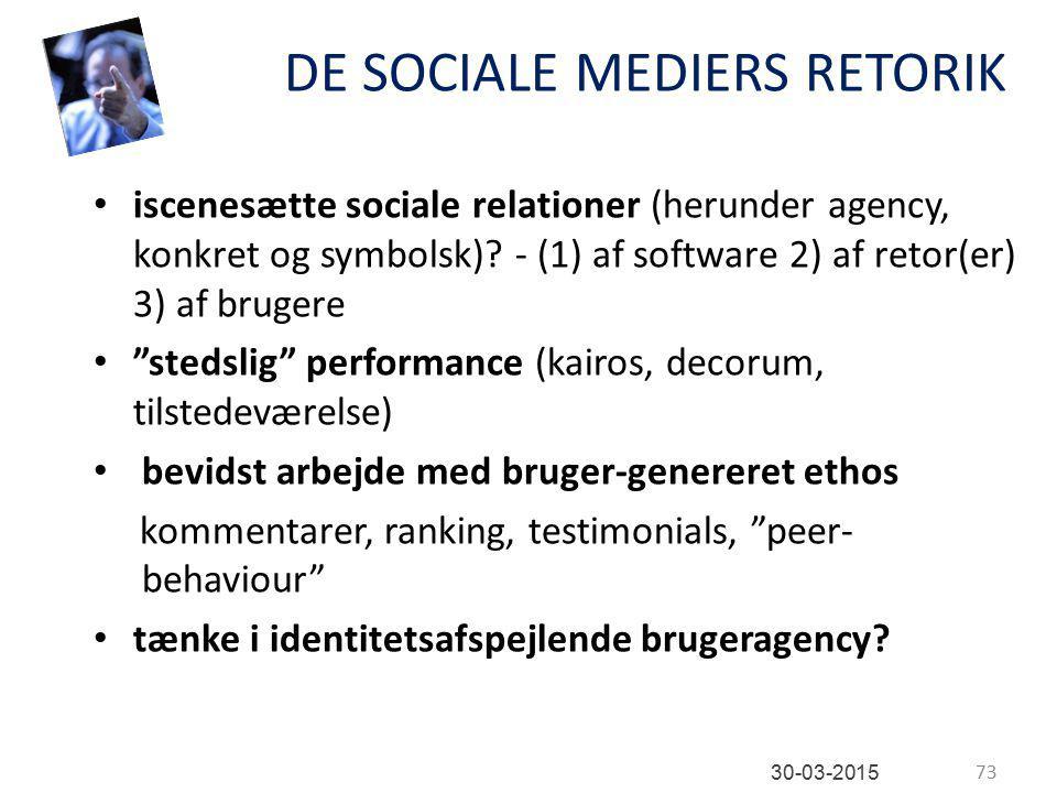 DE SOCIALE MEDIERS RETORIK iscenesætte sociale relationer (herunder agency, konkret og symbolsk).