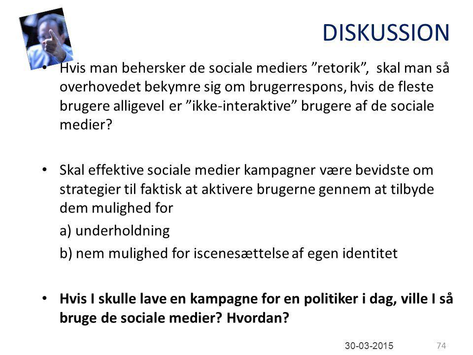 DISKUSSION Hvis man behersker de sociale mediers retorik , skal man så overhovedet bekymre sig om brugerrespons, hvis de fleste brugere alligevel er ikke-interaktive brugere af de sociale medier.