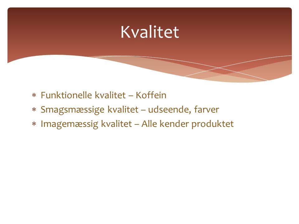  Funktionelle kvalitet – Koffein  Smagsmæssige kvalitet – udseende, farver  Imagemæssig kvalitet – Alle kender produktet Kvalitet