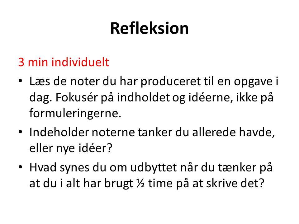 Refleksion 3 min individuelt Læs de noter du har produceret til en opgave i dag.