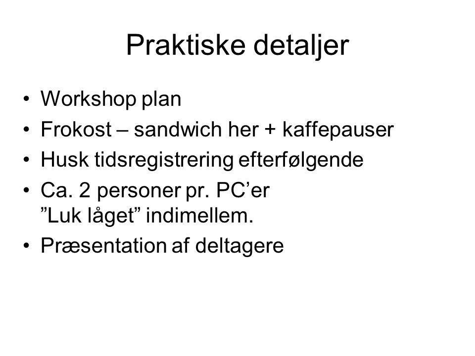 Praktiske detaljer Workshop plan Frokost – sandwich her + kaffepauser Husk tidsregistrering efterfølgende Ca.