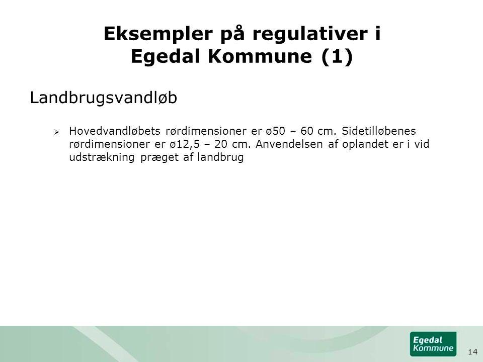 Eksempler på regulativer i Egedal Kommune (1) Landbrugsvandløb  Hovedvandløbets rørdimensioner er ø50 – 60 cm.