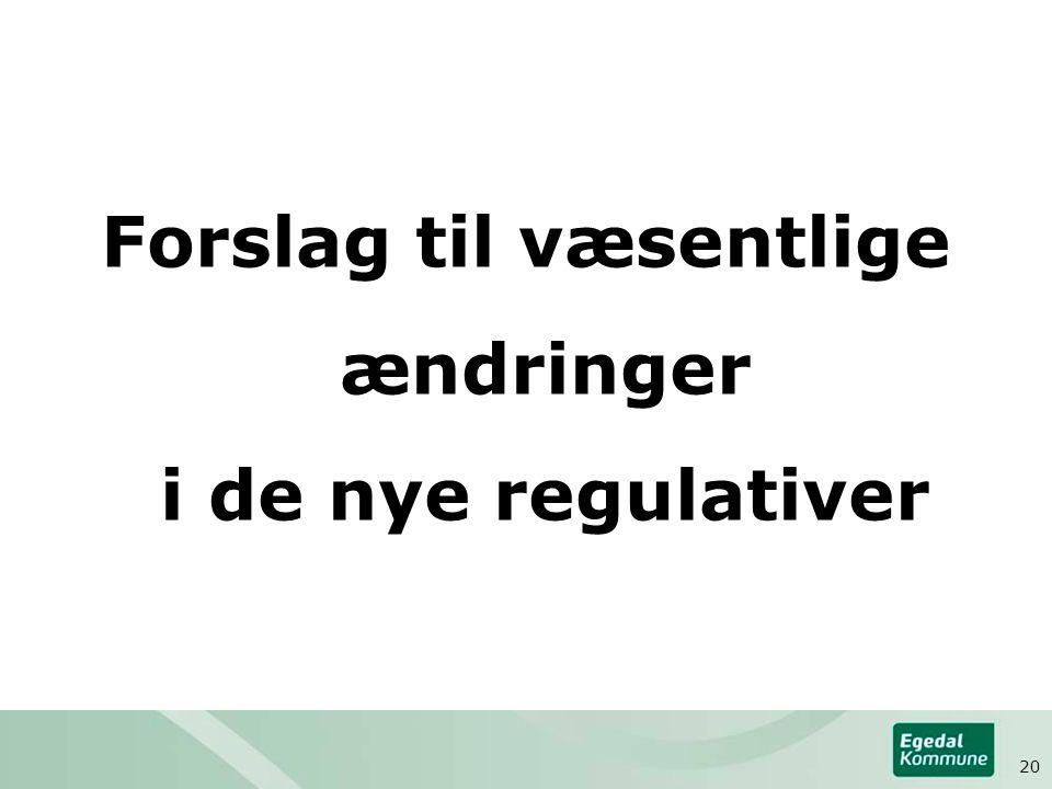 Forslag til væsentlige ændringer i de nye regulativer 20