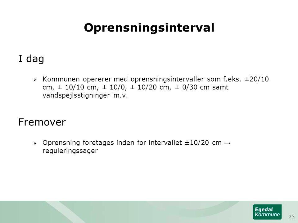 Oprensningsinterval I dag  Kommunen opererer med oprensningsintervaller som f.eks.