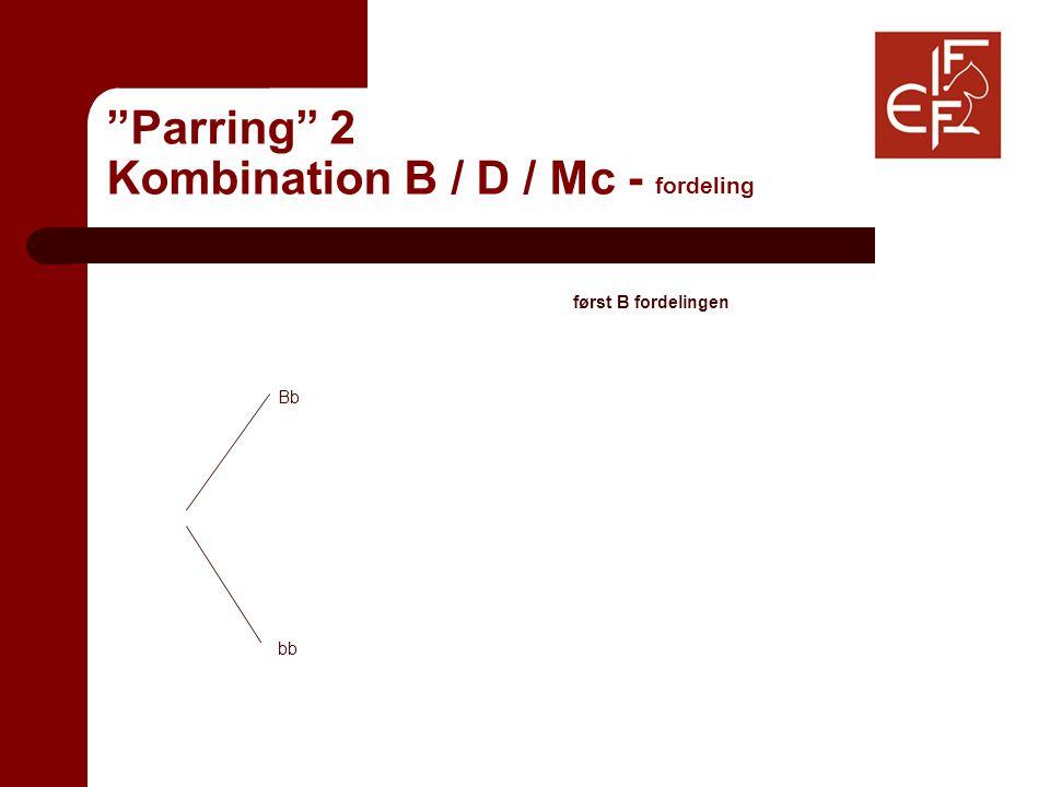 Parring 2 Kombination B / D / Mc - fordeling først B fordelingen Bb bb