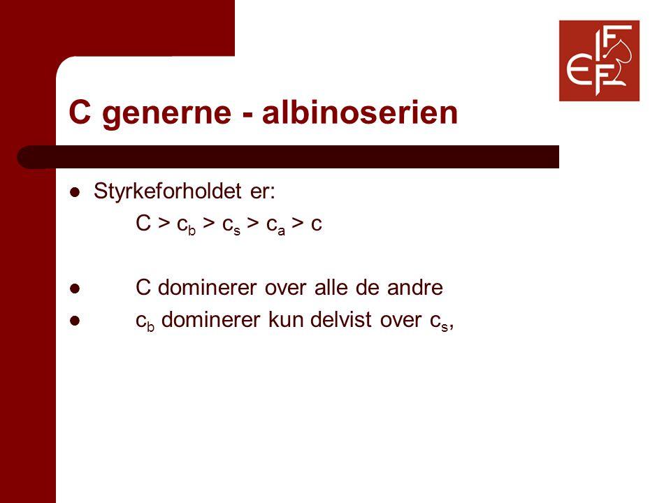 C generne - albinoserien Styrkeforholdet er: C > c b > c s > c a > c C dominerer over alle de andre c b dominerer kun delvist over c s,