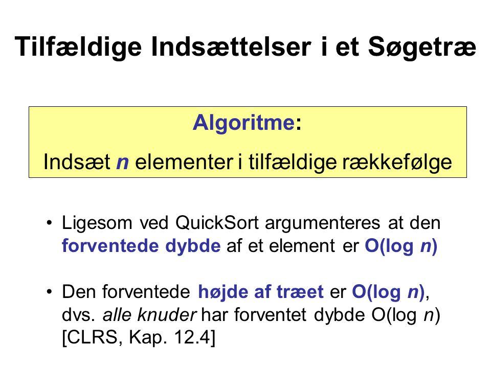 Tilfældige Indsættelser i et Søgetræ Ligesom ved QuickSort argumenteres at den forventede dybde af et element er O(log n) Den forventede højde af træet er O(log n), dvs.