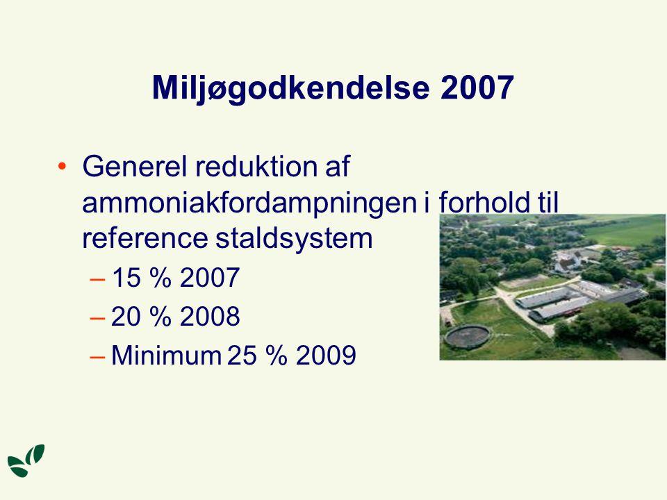 Miljøgodkendelse 2007 Generel reduktion af ammoniakfordampningen i forhold til reference staldsystem –15 % 2007 –20 % 2008 –Minimum 25 % 2009