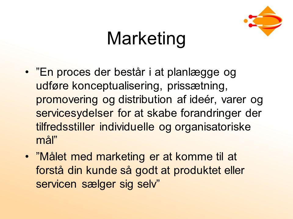 Marketing En proces der består i at planlægge og udføre konceptualisering, prissætning, promovering og distribution af ideér, varer og servicesydelser for at skabe forandringer der tilfredsstiller individuelle og organisatoriske mål Målet med marketing er at komme til at forstå din kunde så godt at produktet eller servicen sælger sig selv