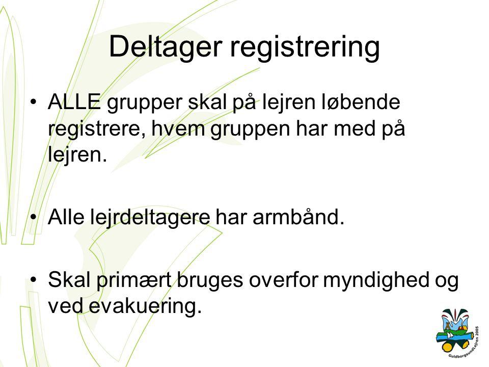 Deltager registrering ALLE grupper skal på lejren løbende registrere, hvem gruppen har med på lejren.