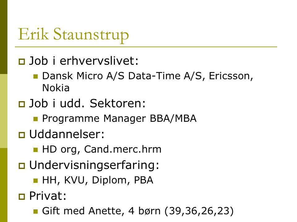 Erik Staunstrup  Job i erhvervslivet: Dansk Micro A/S Data-Time A/S, Ericsson, Nokia  Job i udd.