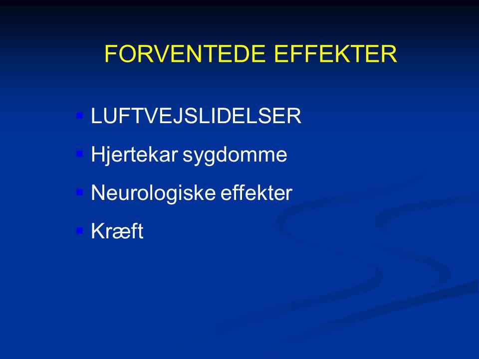 FORVENTEDE EFFEKTER  LUFTVEJSLIDELSER  Hjertekar sygdomme  Neurologiske effekter  Kræft