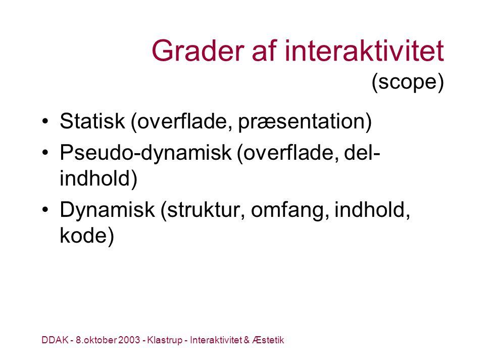 DDAK - 8.oktober 2003 - Klastrup - Interaktivitet & Æstetik Grader af interaktivitet (scope) Statisk (overflade, præsentation) Pseudo-dynamisk (overflade, del- indhold) Dynamisk (struktur, omfang, indhold, kode)