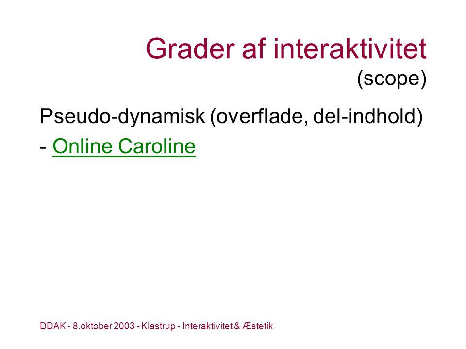 DDAK - 8.oktober 2003 - Klastrup - Interaktivitet & Æstetik Grader af interaktivitet (scope) Pseudo-dynamisk (overflade, del-indhold) - Online CarolineOnline Caroline