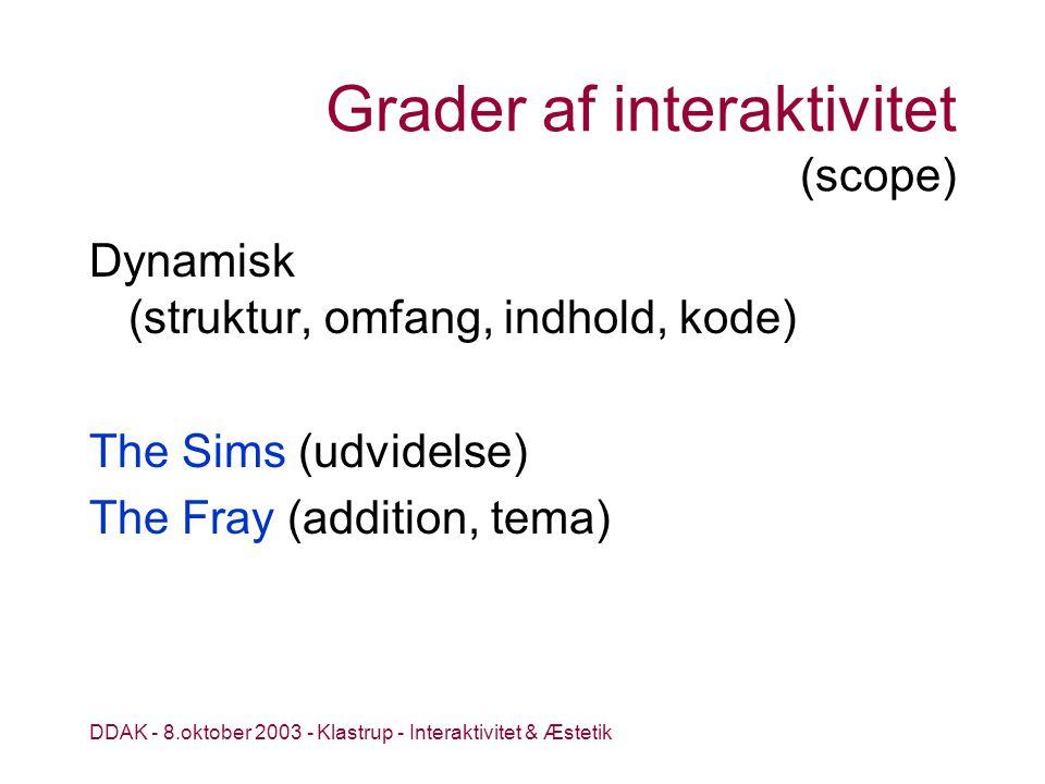 DDAK - 8.oktober 2003 - Klastrup - Interaktivitet & Æstetik Grader af interaktivitet (scope) Dynamisk (struktur, omfang, indhold, kode) The Sims (udvidelse) The Fray (addition, tema)