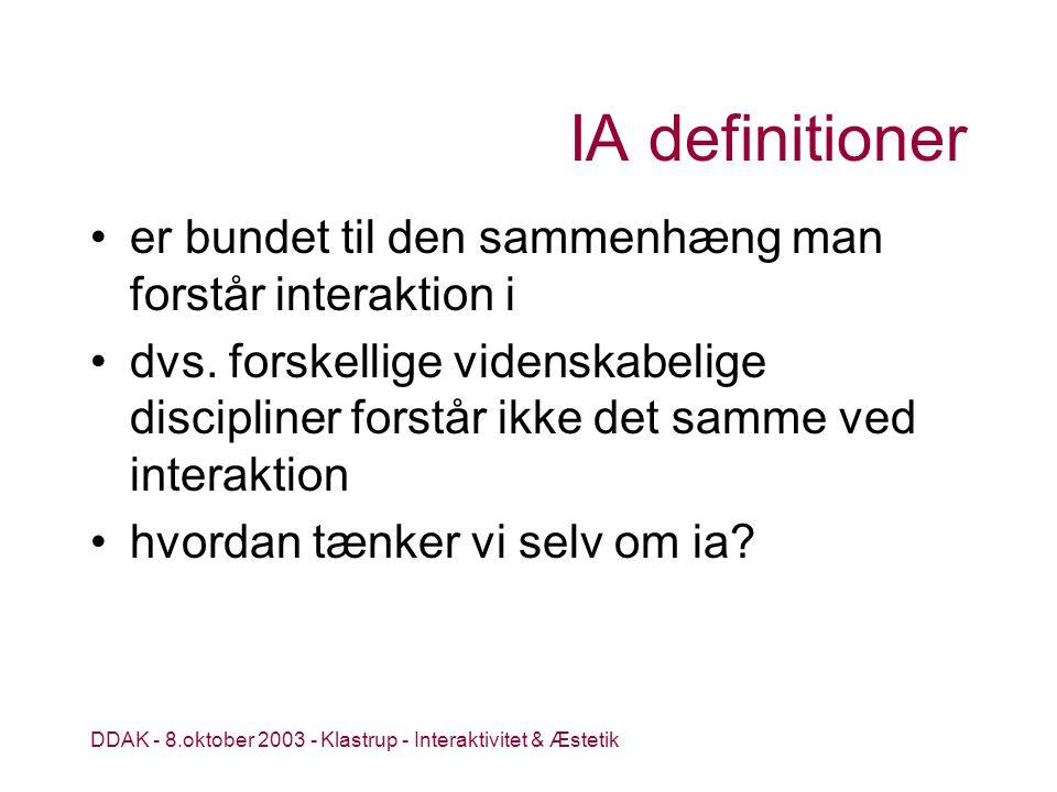 DDAK - 8.oktober 2003 - Klastrup - Interaktivitet & Æstetik IA definitioner er bundet til den sammenhæng man forstår interaktion i dvs.