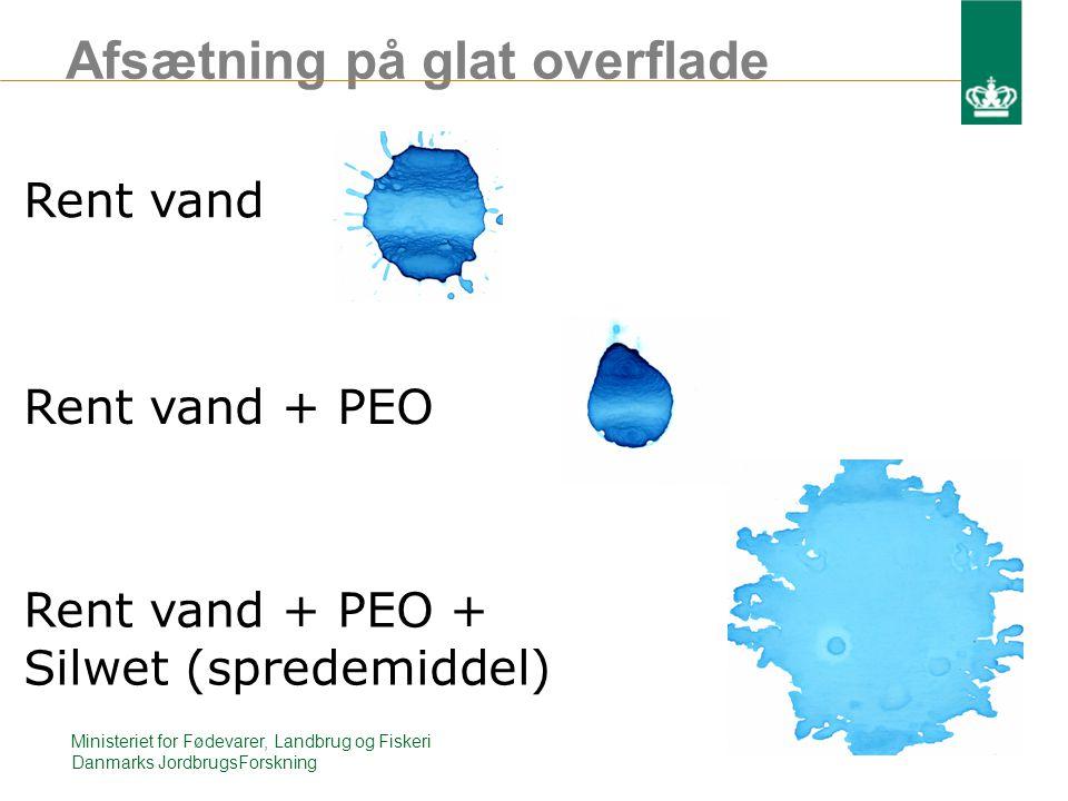 Afsætning på glat overflade Ministeriet for Fødevarer, Landbrug og Fiskeri Danmarks JordbrugsForskning Rent vand Rent vand + PEO Rent vand + PEO + Silwet (spredemiddel)