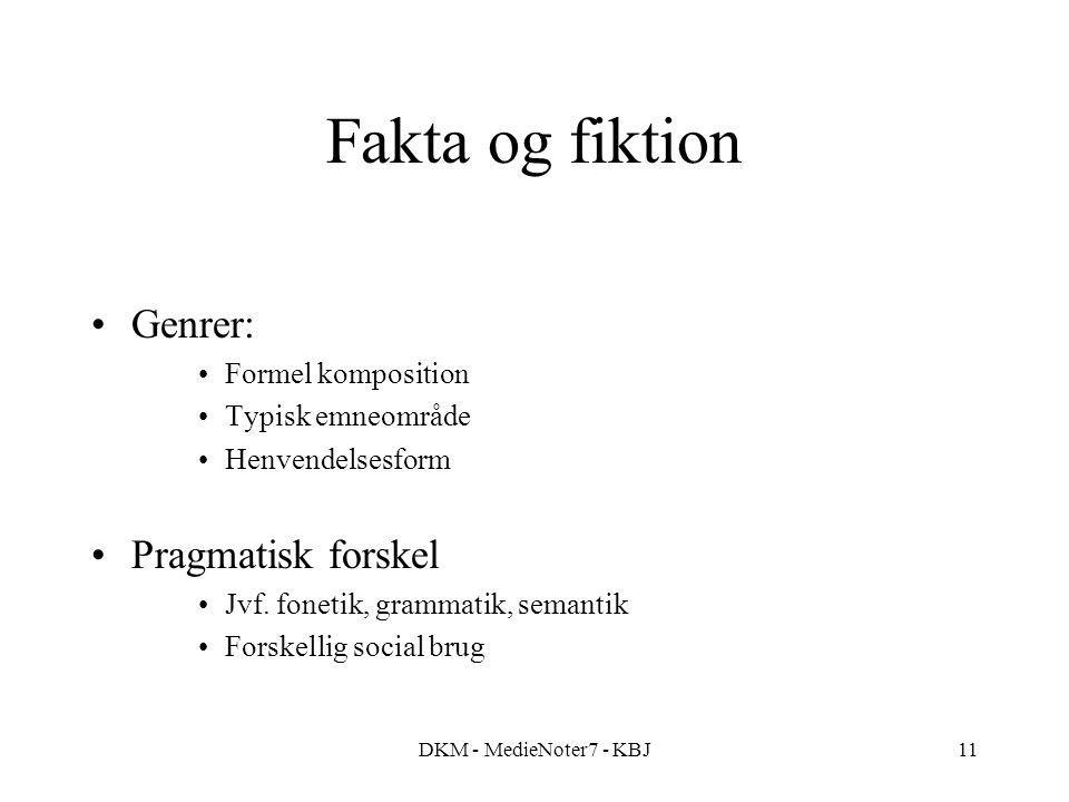 DKM - MedieNoter7 - KBJ11 Fakta og fiktion Genrer: Formel komposition Typisk emneområde Henvendelsesform Pragmatisk forskel Jvf.