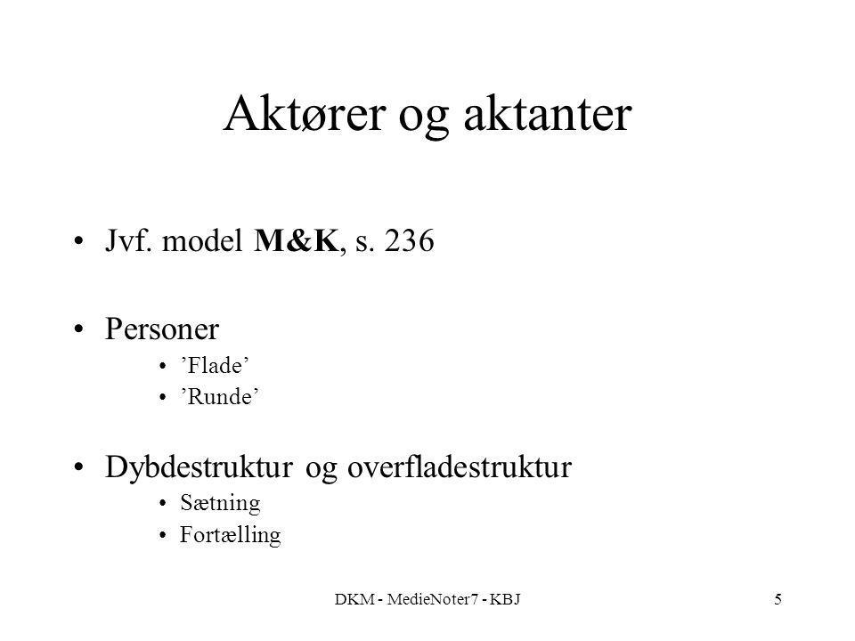 DKM - MedieNoter7 - KBJ5 Aktører og aktanter Jvf. model M&K, s.
