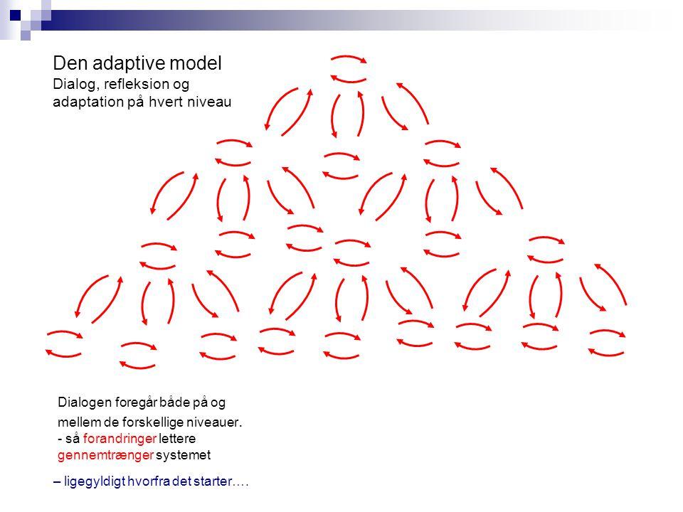 Den adaptive model Dialog, refleksion og adaptation på hvert niveau – ligegyldigt hvorfra det starter….