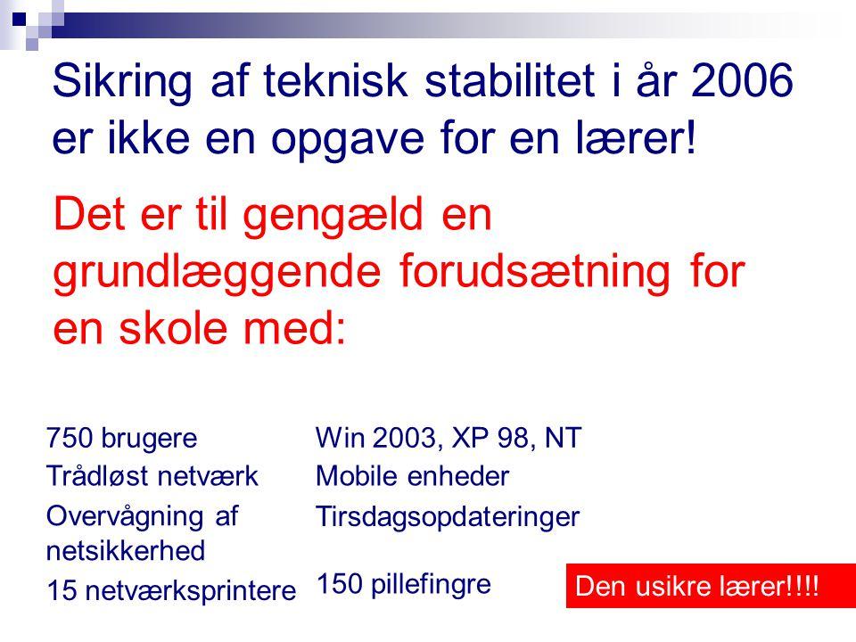 Sikring af teknisk stabilitet i år 2006 er ikke en opgave for en lærer.