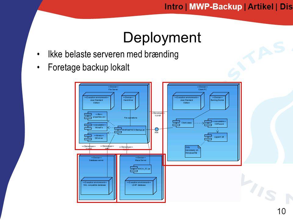 10 Deployment Intro | MWP-Backup | Artikel | Diskussion Ikke belaste serveren med brænding Foretage backup lokalt