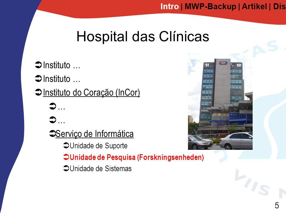 5 Hospital das Clínicas  Instituto …  Instituto do Coração (InCor)  …  Serviço de Informática  Unidade de Suporte  Unidade de Pesquisa (Forskningsenheden)  Unidade de Sistemas Intro | MWP-Backup | Artikel | Diskussion